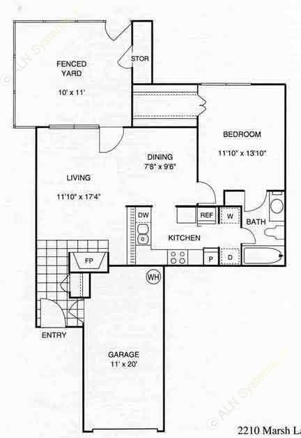 740 sq. ft. A4 w/Gar floor plan