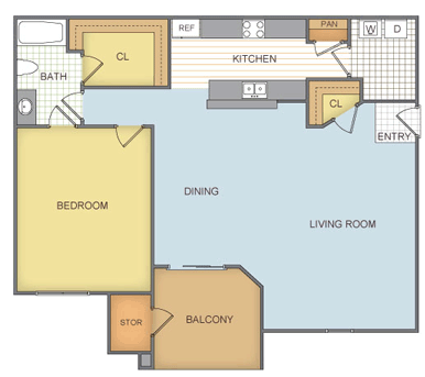 787 sq. ft. A3-1 floor plan