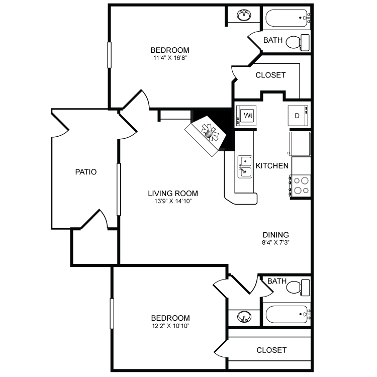 863 sq. ft. B4 floor plan