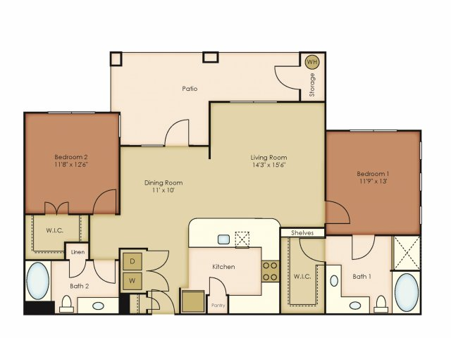 1,230 sq. ft. B4 floor plan