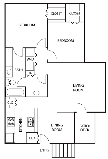 1,023 sq. ft. B1 floor plan