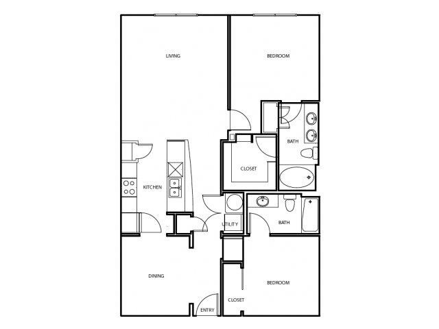 1,222 sq. ft. B3-E floor plan