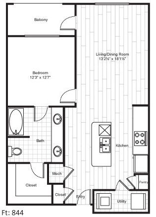 844 sq. ft. A7 floor plan