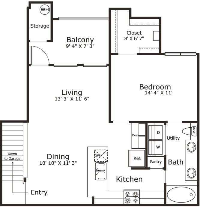 863 sq. ft. A6G floor plan