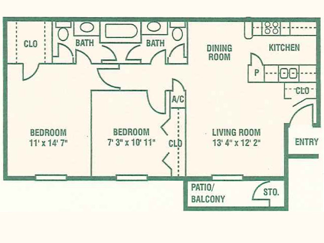 890 sq. ft. 60% floor plan