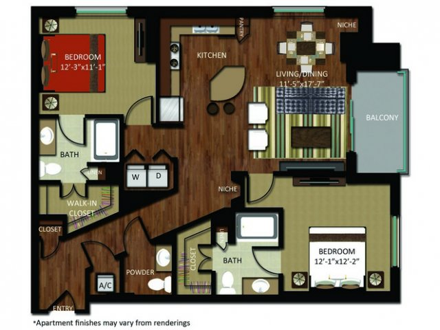 1,305 sq. ft. B6 floor plan