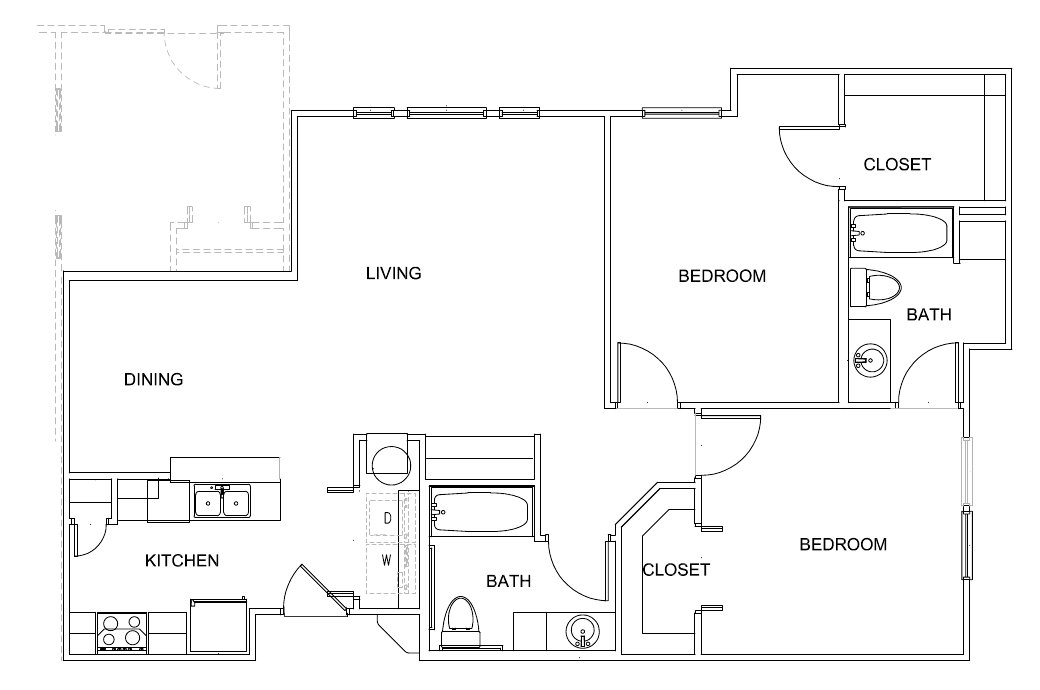 1,027 sq. ft. Presly 60% floor plan