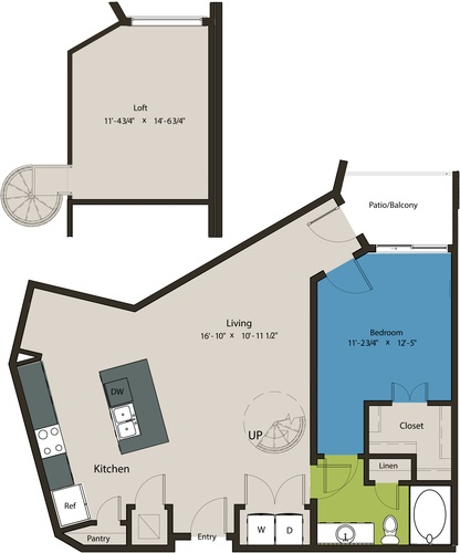 1,059 sq. ft. A6-L1 floor plan