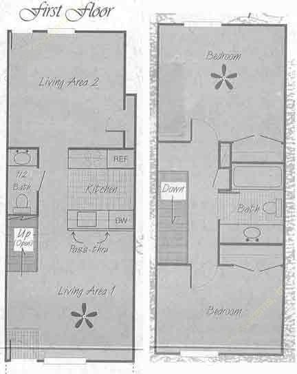 1,030 sq. ft. B1 floor plan