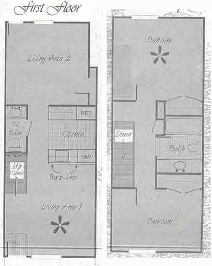 1,030 sq. ft. B1 floor plan