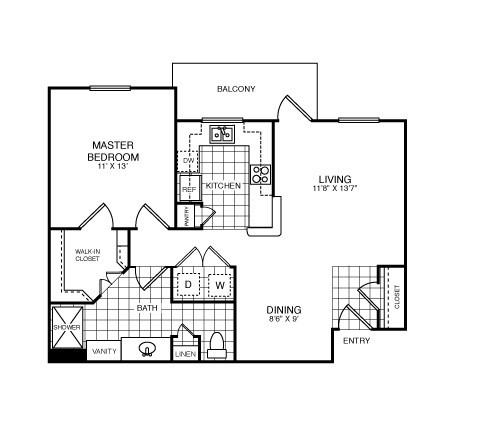 756 sq. ft. Claremore/A2 floor plan