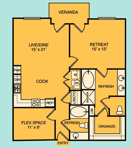 908 sq. ft. A5 floor plan