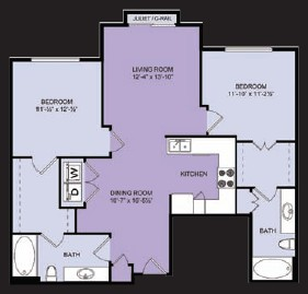 1,037 sq. ft. B4 floor plan
