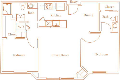880 sq. ft. CHADWICK floor plan