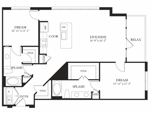 1,197 sq. ft. Ducale floor plan