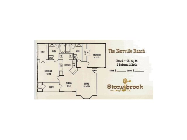 951 sq. ft. Kerriville Ranch floor plan