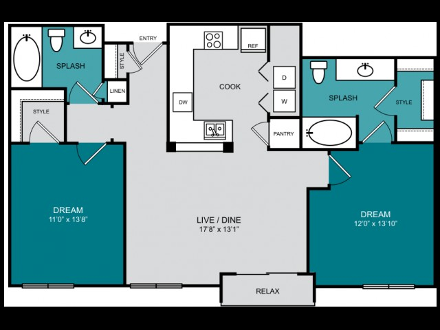 1,026 sq. ft. B1 UPLAND floor plan