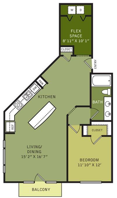 1,013 sq. ft. AF3ALT (II) floor plan