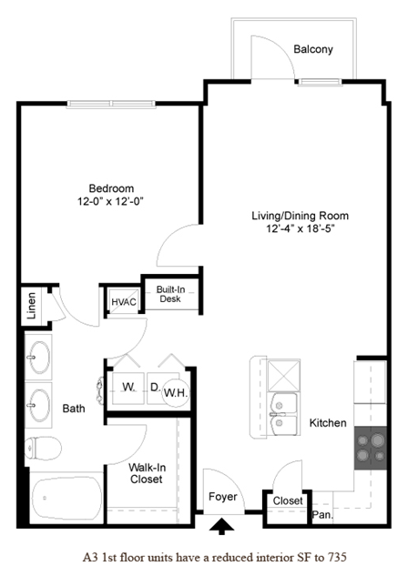 753 sq. ft. A3.1 floor plan