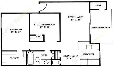 790 sq. ft. A5 floor plan
