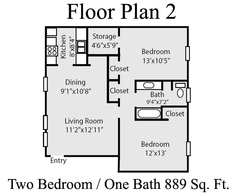 889 sq. ft. B floor plan