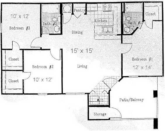 1,079 sq. ft. D floor plan