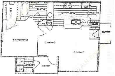 652 sq. ft. A floor plan