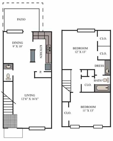 1,153 sq. ft. Gruene floor plan