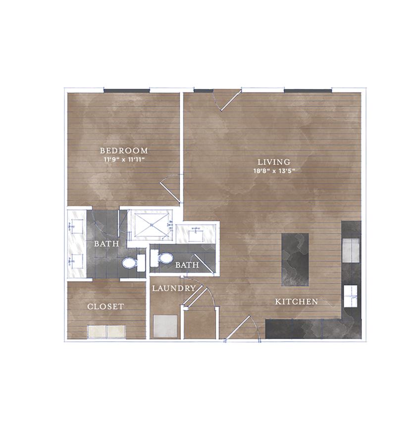 814 sq. ft. CS-7 floor plan