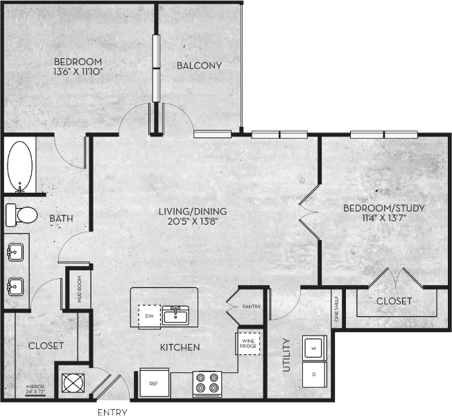 1,106 sq. ft. Monterey floor plan