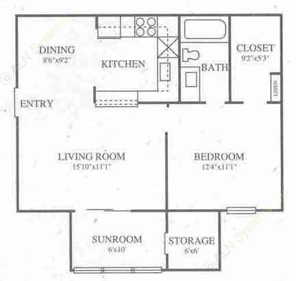 606 sq. ft. A1 Prem floor plan