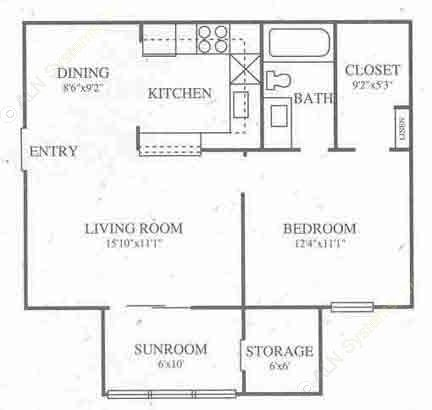 666 sq. ft. A2 Classic floor plan