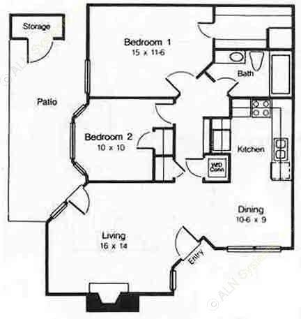 865 sq. ft. C floor plan
