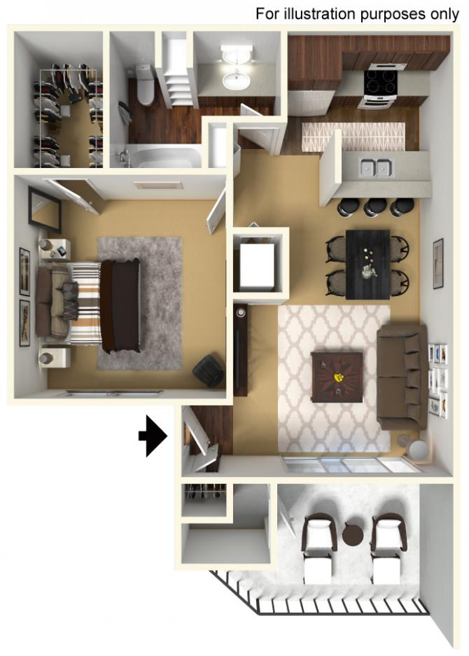 625 sq. ft. 60% floor plan