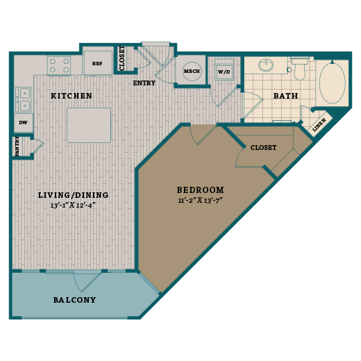720 sq. ft. A3 floor plan