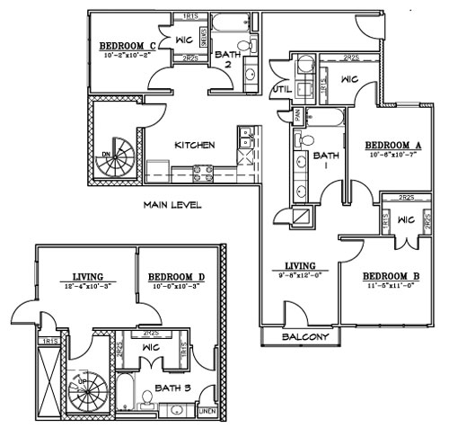 1,685 sq. ft. D4 floor plan