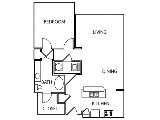 900 sq. ft. A5 floor plan