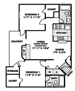 850 sq. ft. B floor plan