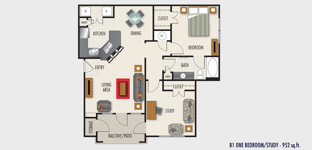952 sq. ft. to 1,052 sq. ft. B1 floor plan