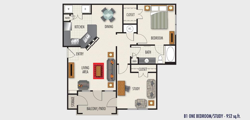 952 sq. ft. to 1,052 sq. ft. Torino floor plan