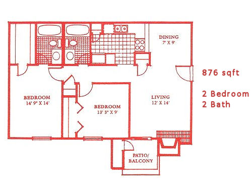 876 sq. ft. B1 floor plan