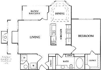 761 sq. ft. A2 floor plan