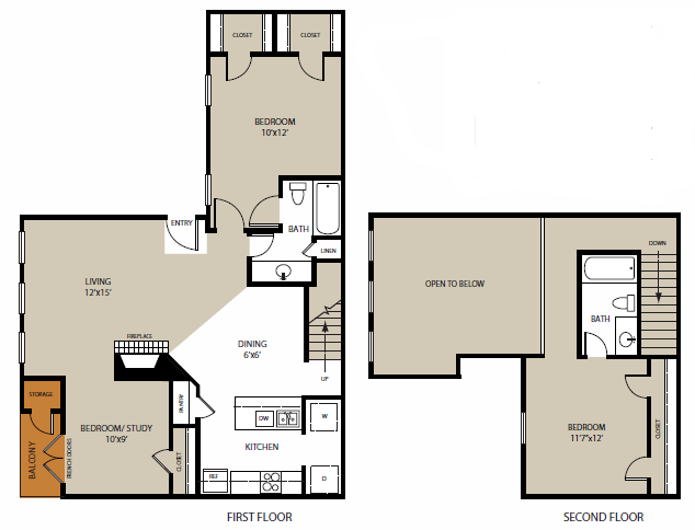 1,200 sq. ft. Bishop floor plan