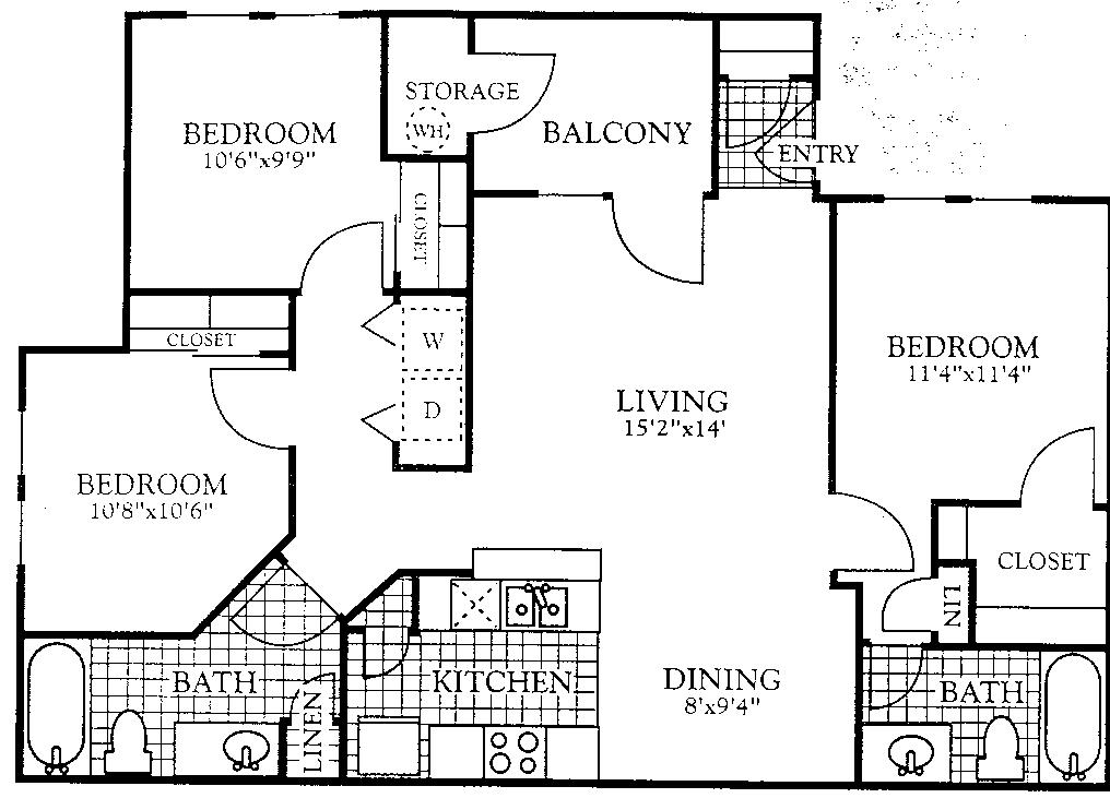 1,077 sq. ft. C1 floor plan