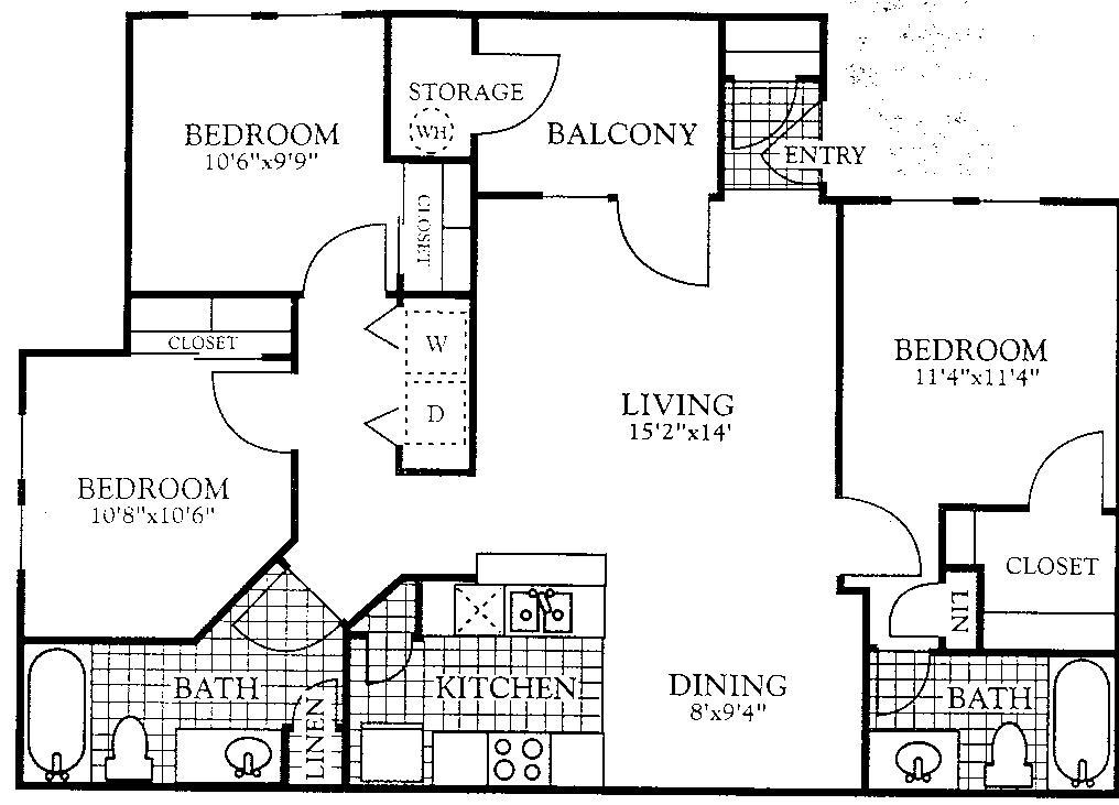 1,077 sq. ft. C1 floor plan
