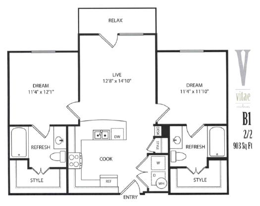903 sq. ft. Furnished floor plan