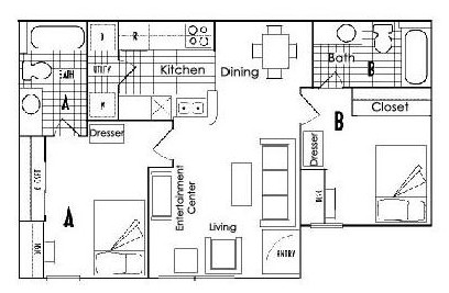 760 sq. ft. B3 floor plan