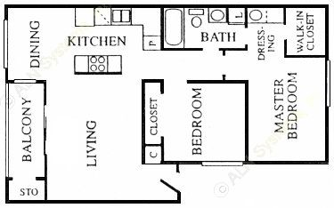 859 sq. ft. Bourg floor plan