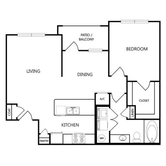 814 sq. ft. A2 floor plan