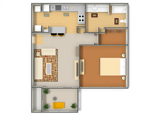 784 sq. ft. Cardinal floor plan